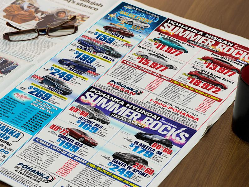 automotive TV spots and car dealer radio spots, auto dealer newspaper ads,